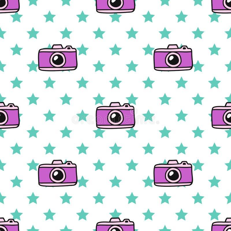 De hand trekt Camera Naadloos Patroon Vector Eindeloze achtergrond in Krabbelstijl royalty-vrije illustratie