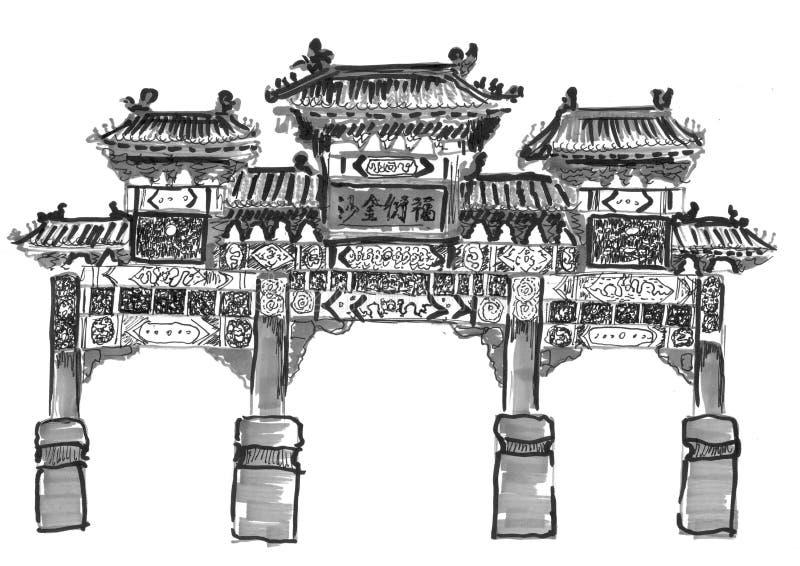 De hand trekt Chinese overwelfde galerij vector illustratie