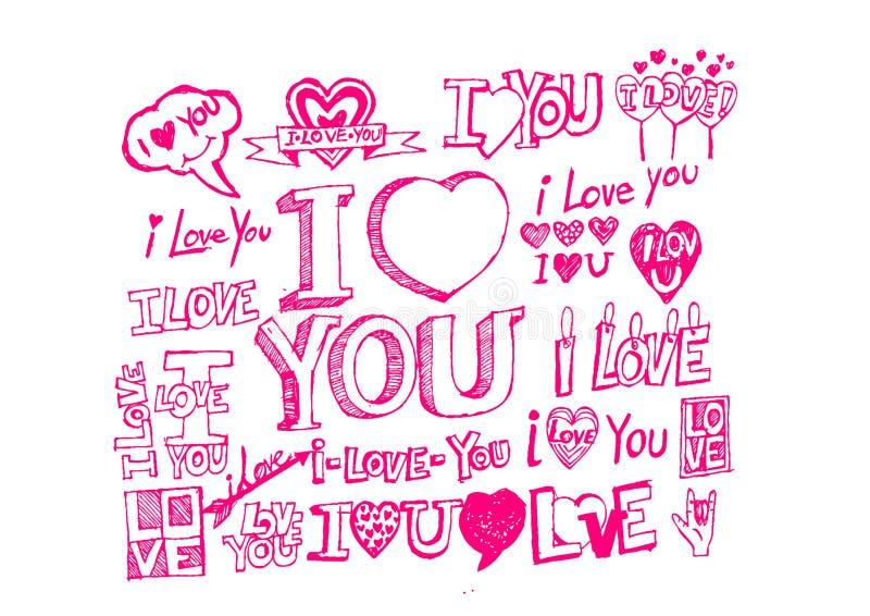 De hand trekt de dag van Valentine royalty-vrije illustratie