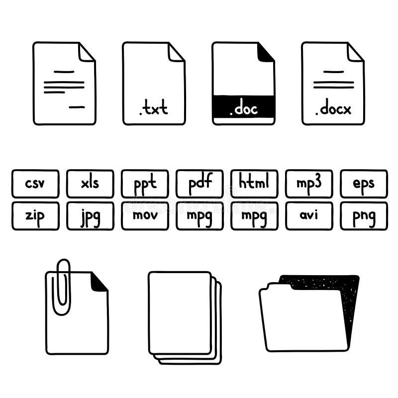 De hand trekt de reeks van de krabbelschets van documentdossier vector illustratie