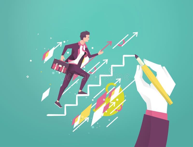 De hand trekt een ladder aan hoofd jonge aanstaande zakenman royalty-vrije illustratie