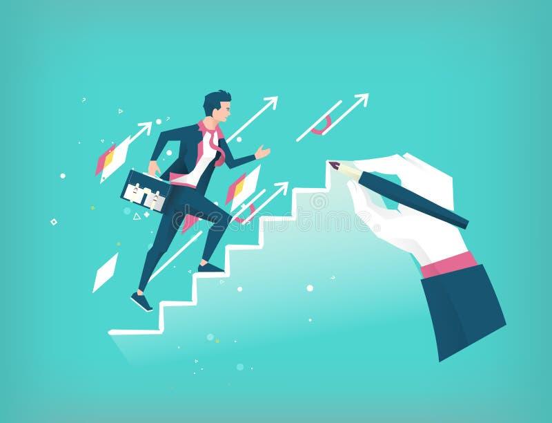 De hand trekt een ladder aan hoofd jonge aanstaande zakenman stock illustratie