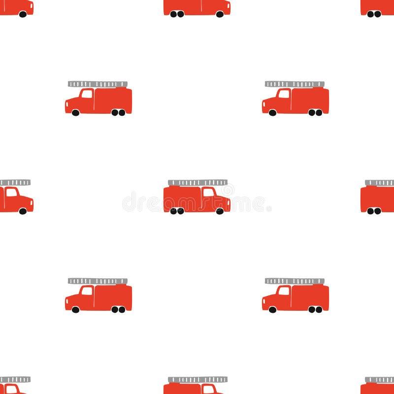 De hand trekt een Naadloos Patroon van de Brandvrachtwagen Vector Jongensachtige Achtergrond in Skandinavische Stijl vector illustratie