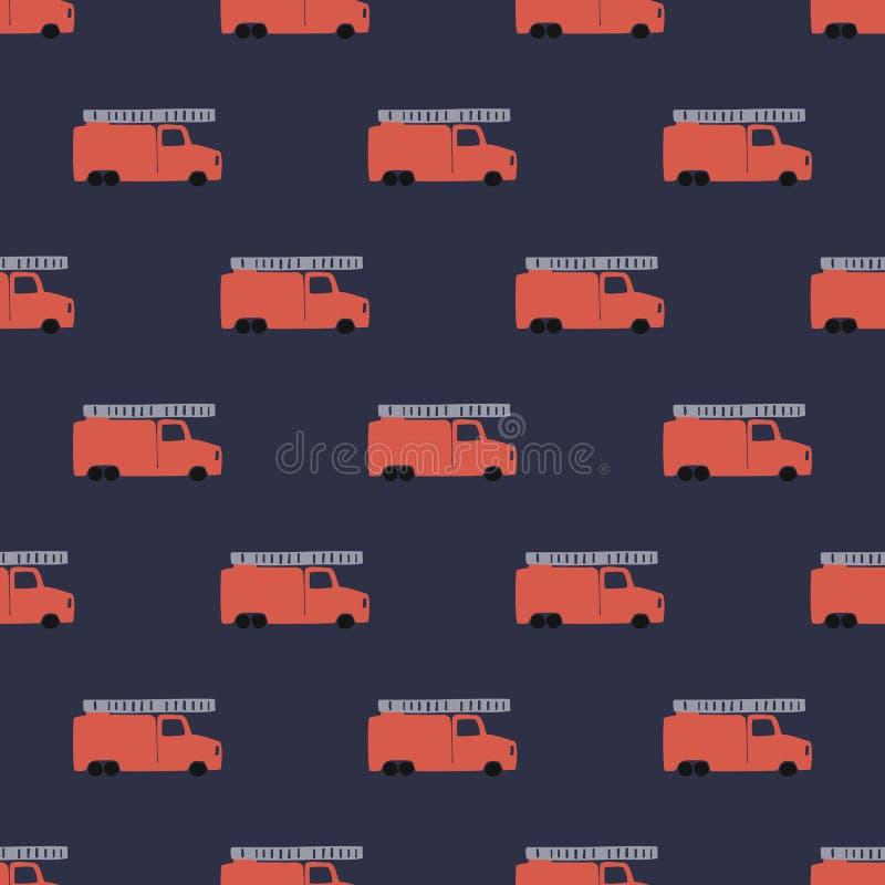 De hand trekt een Naadloos Patroon van de Brandvrachtwagen Vector Jongensachtige Achtergrond in Skandinavische Stijl royalty-vrije illustratie