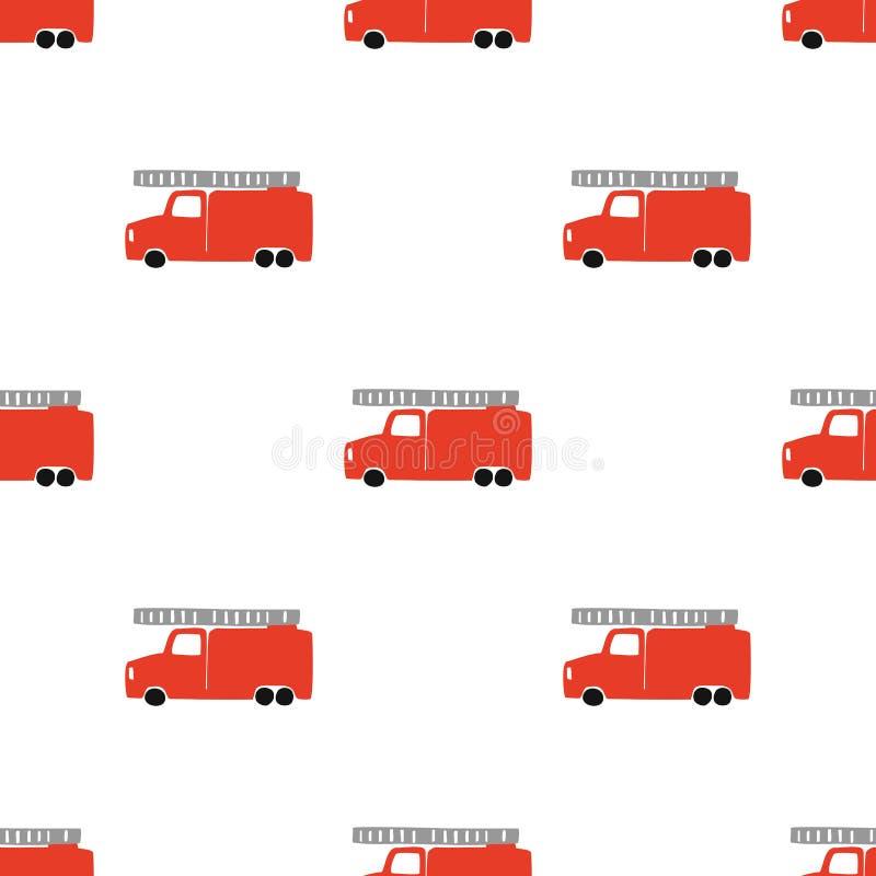 De hand trekt een Naadloos Patroon van de Brandvrachtwagen Vector Jongensachtige Achtergrond in Skandinavische Stijl stock illustratie