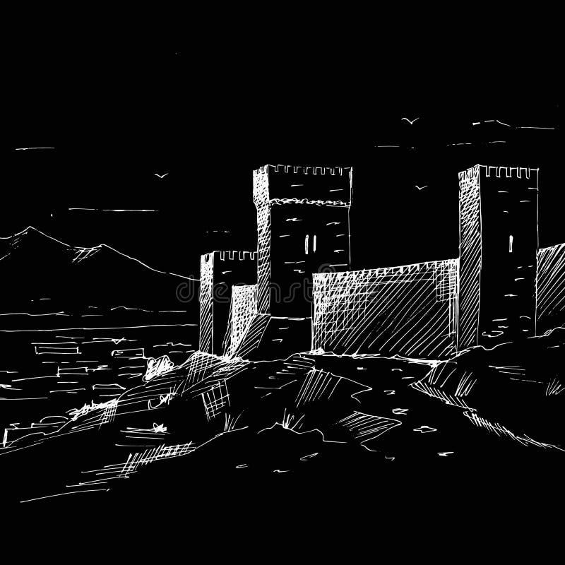 De hand trekt Grafische uitstekende schets van Genoese-vesting, retro achtergrond, de Krim stock afbeelding
