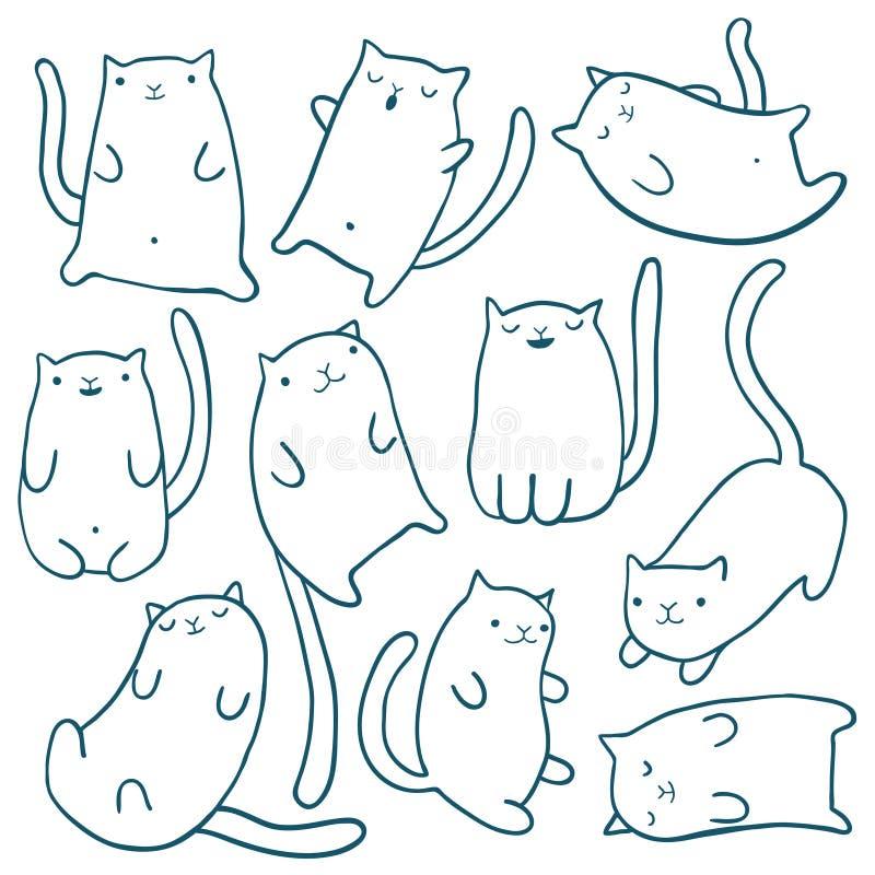 De hand trekt grappige katten stock illustratie