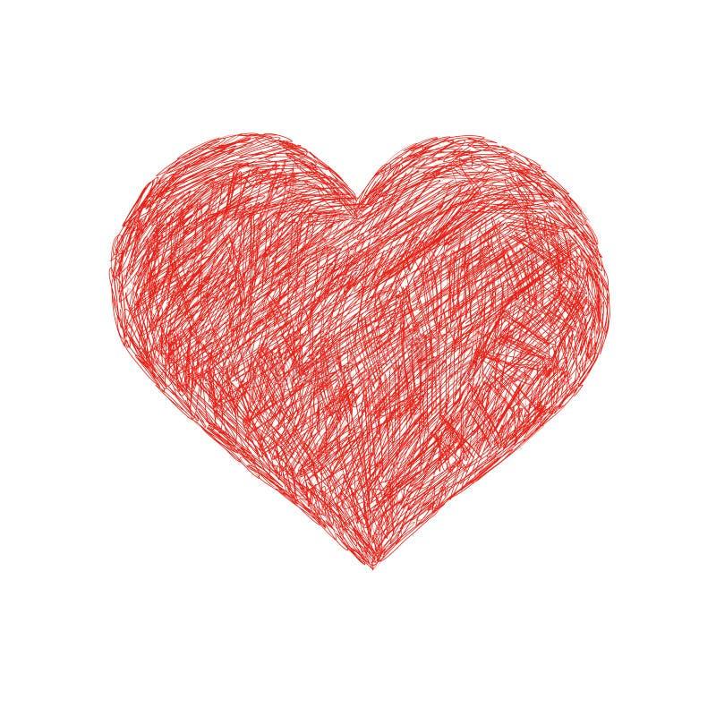 De hand trekt hart royalty-vrije illustratie