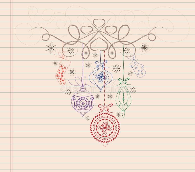 de hand trekt het ornament van krabbelkerstmis vector illustratie