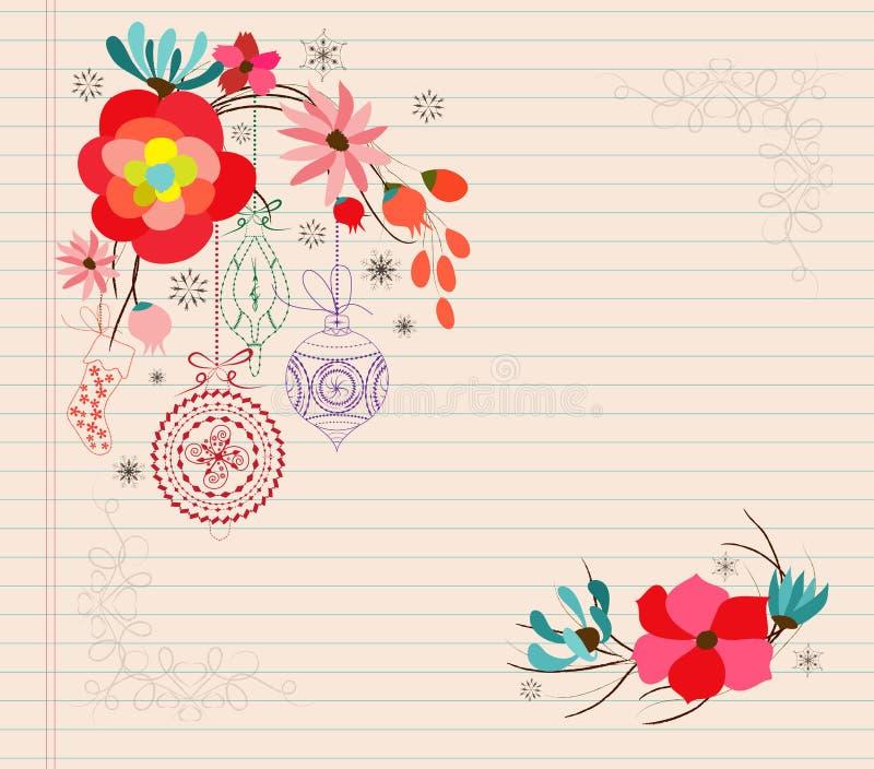 de hand trekt Kerstmisornament van de bloemkrabbel vector illustratie