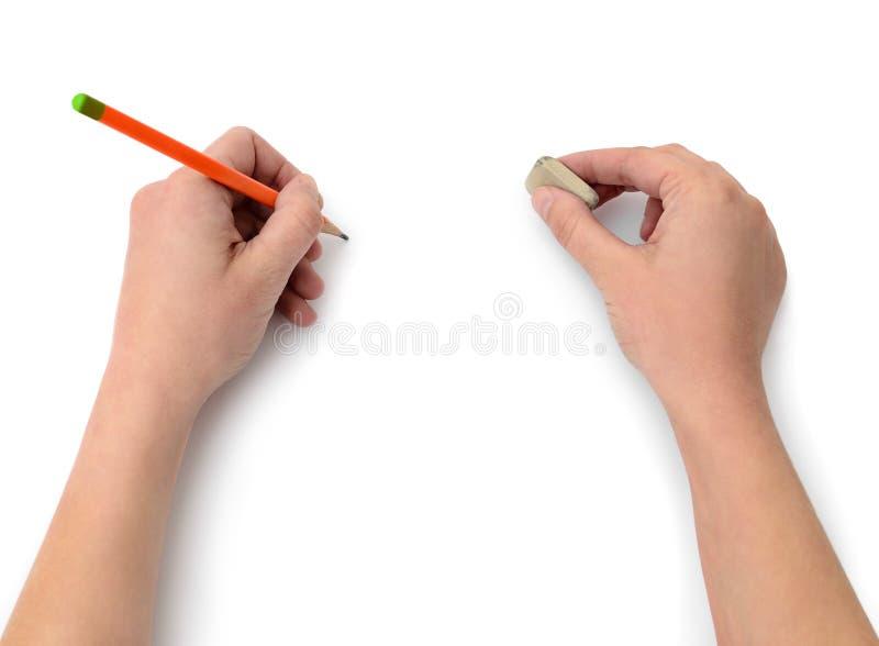 De hand trekt met een potlood op Witboek stock afbeeldingen