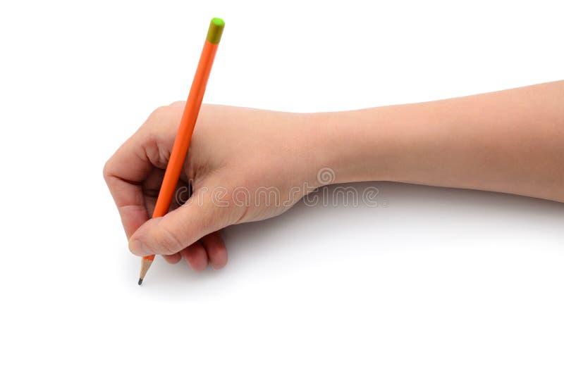 De hand trekt met een potlood op Witboek royalty-vrije stock fotografie
