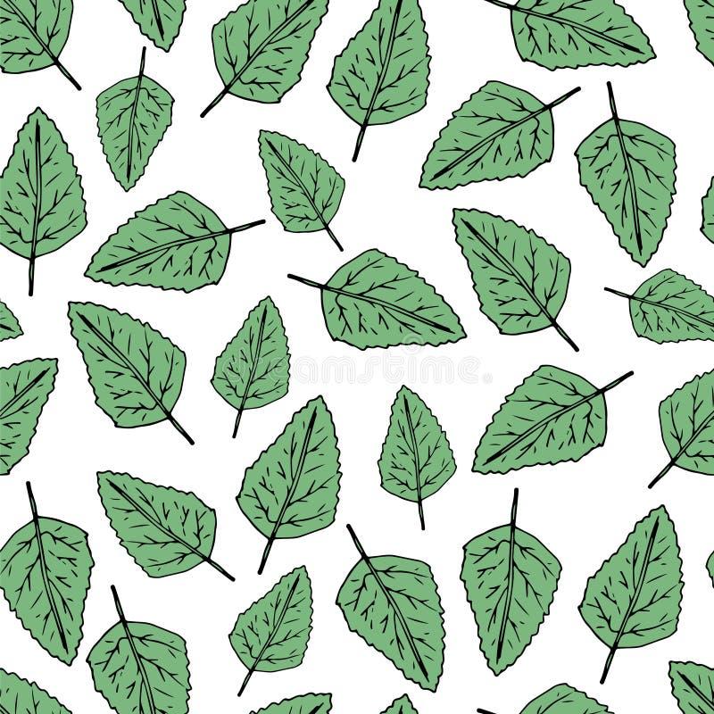 De hand trekt naadloos patroon Groen doorbladert Vector illustratie stock illustratie