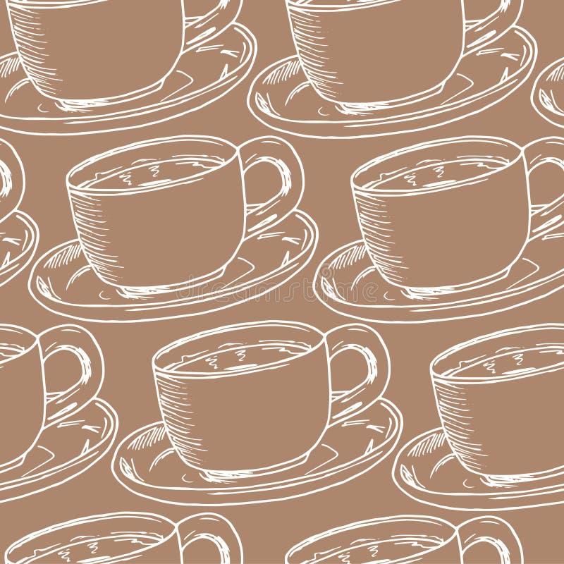 De hand trekt naadloos patroon Kop van koffie, theetijd Vector illustratie stock illustratie