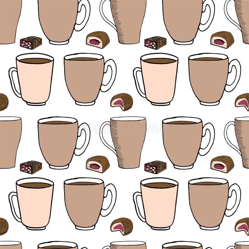 De hand trekt naadloos patroon Kop van koffie, theetijd Vector illustratie vector illustratie