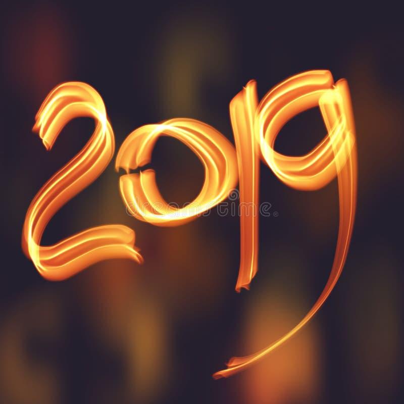 De hand trekt nieuw jaar 2019 van de illustratiebrand oranje lichte lijnenbanner als achtergrond stock illustratie