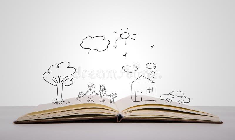 De hand trekt in open boek van mooie familie op witte achtergrond royalty-vrije stock afbeeldingen