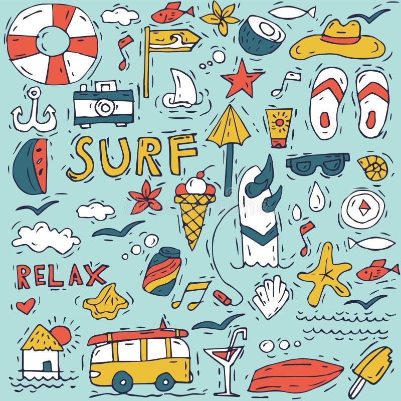 De hand trekt pictogram vastgestelde het surfen inzameling en de zomervakantie voor uw ontwerp Toerisme en vakantiethema vector illustratie