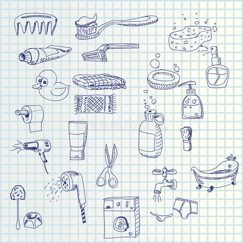 De hand trekt pictogrammen royalty-vrije illustratie
