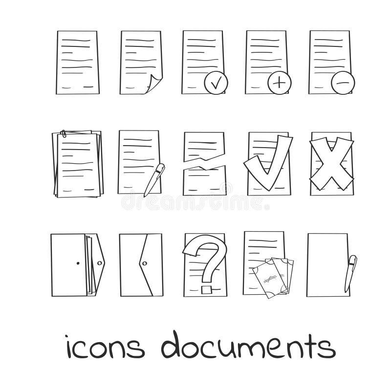 De hand trekt pictogrammen van documenten en contracten vector illustratie