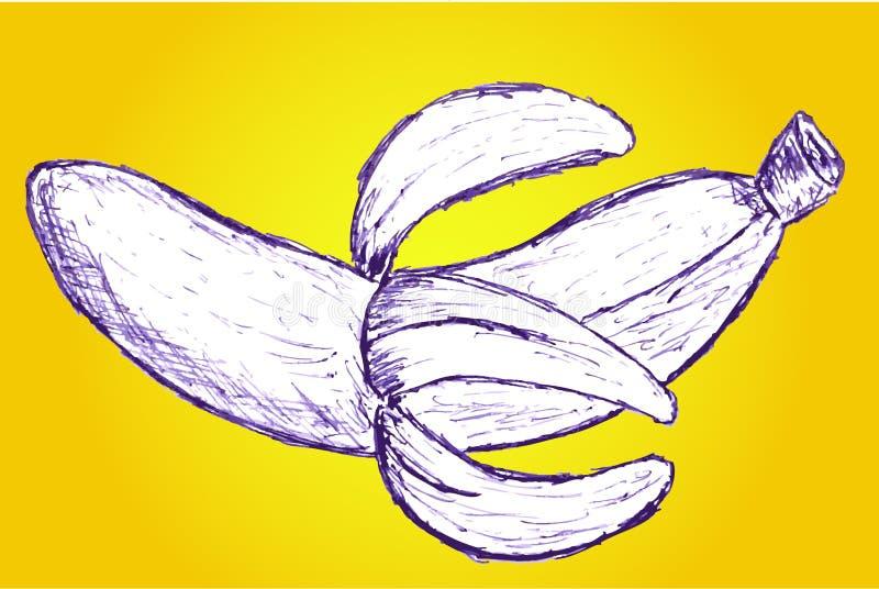 De hand trekt schets, banaan op geel wordt geïsoleerd die stock illustratie