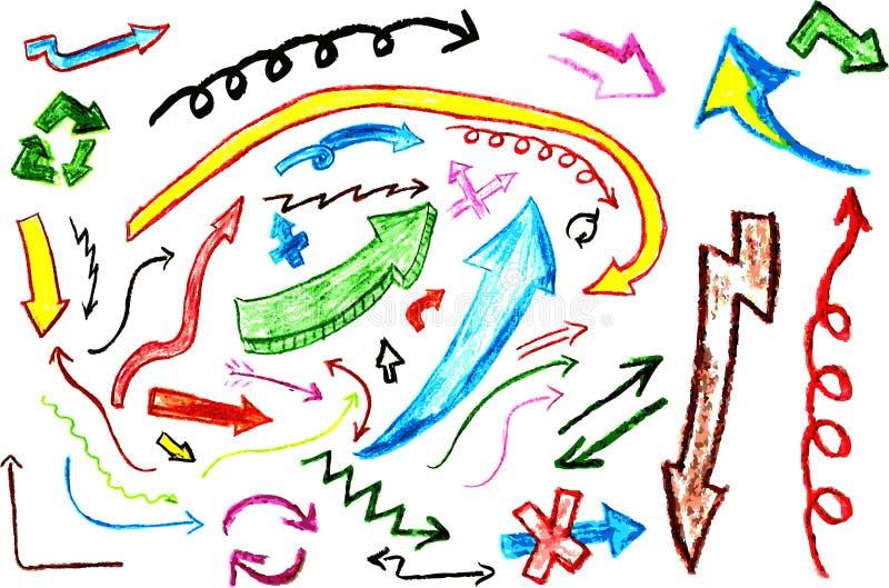 De hand trekt schets diverse pijl stock illustratie