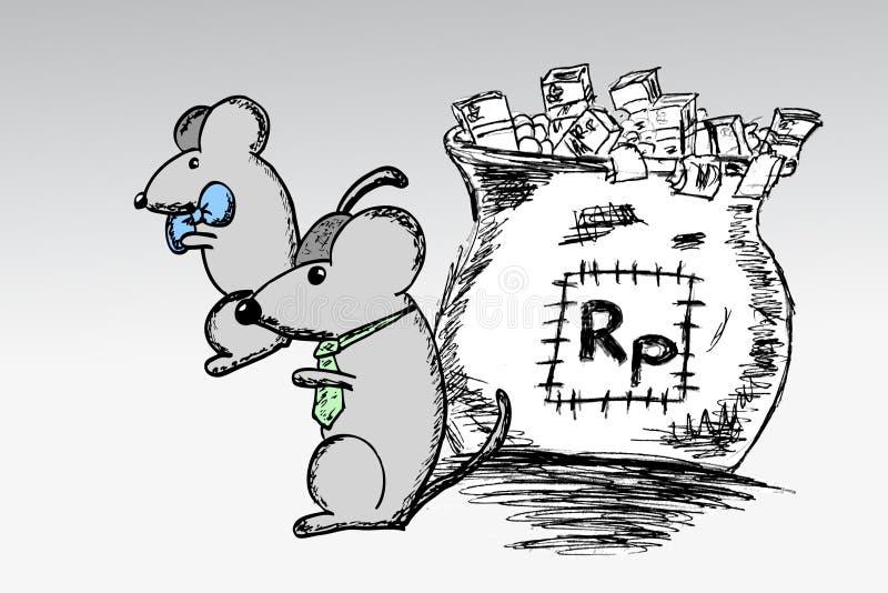 De hand trekt schets, muis en zak van Roepie vector illustratie
