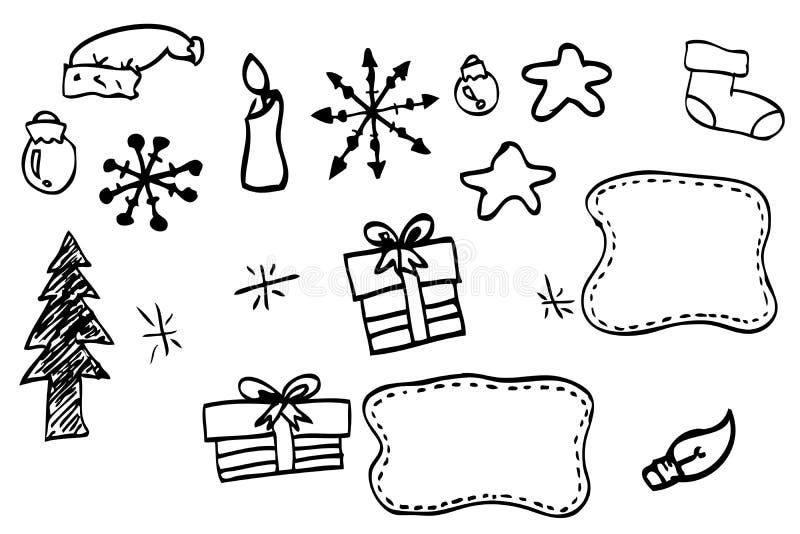 De hand trekt schets van Kerstmismateriaal royalty-vrije illustratie