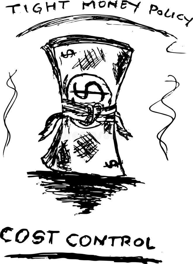 De hand trekt, schetst Illustratie voor Kostencontrole stock illustratie