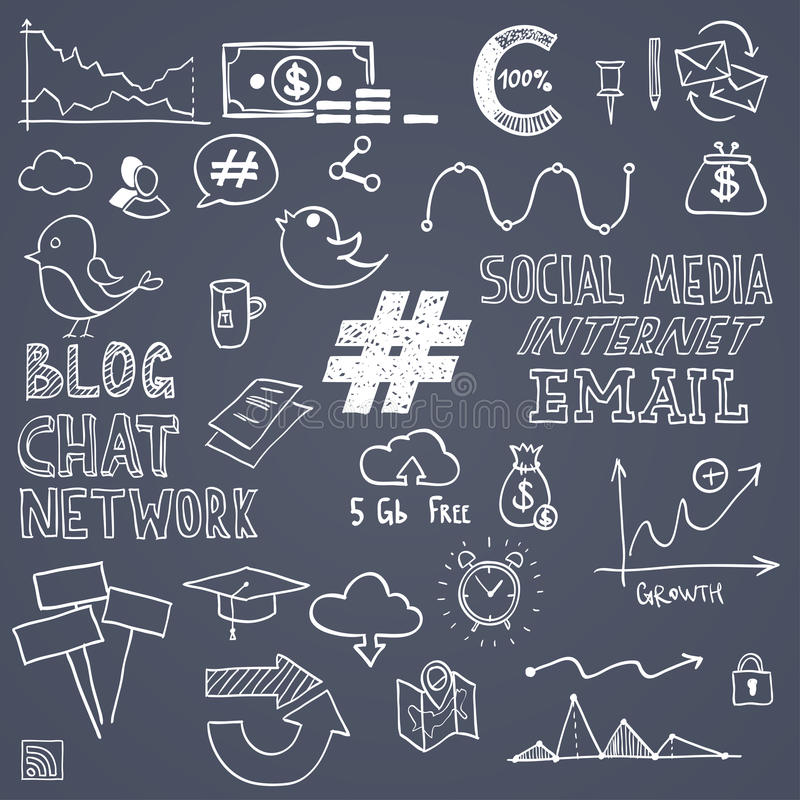 De hand trekt sociale media teken en symboolkrabbels vector illustratie