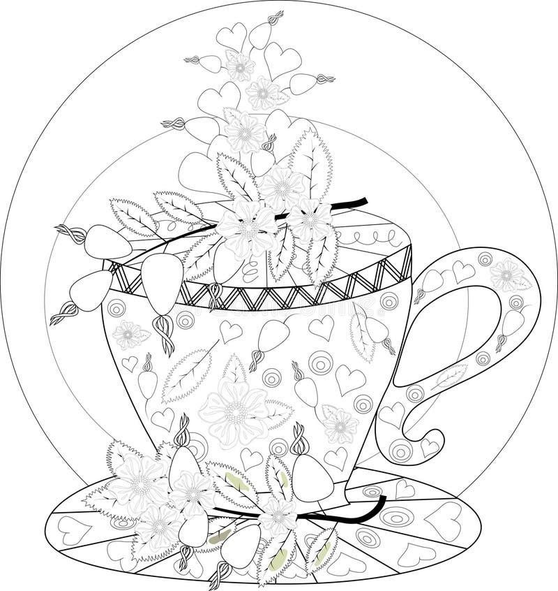 De hand trekt vector kleurend boek voor volwassene teatime Kop theeën, vruchten en bloemen stock afbeelding