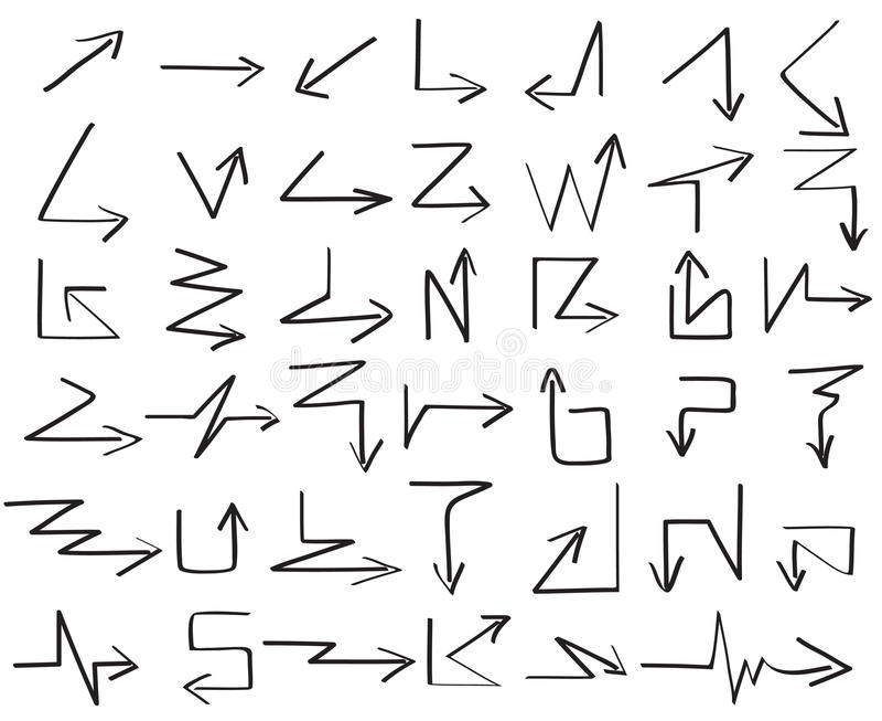 De hand trekt vectorreeks van de pijl de magische zigzag stock illustratie