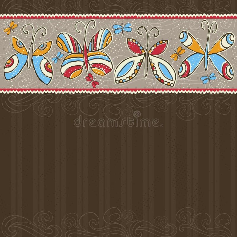 De hand trekt vlinders op bruine achtergrond stock illustratie