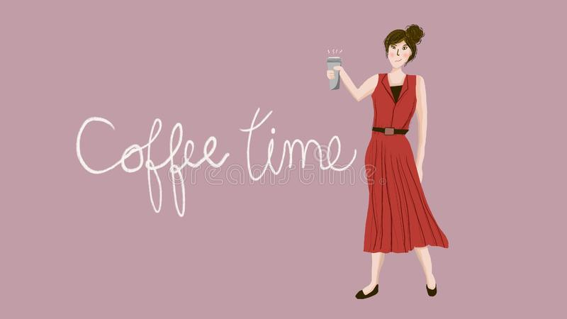 De hand trekt vrouw met rode het document van de kledingsholding koffiekop royalty-vrije illustratie