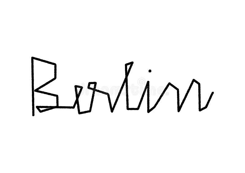 De hand van Berlijn het van letters voorzien op witte achtergrond stock illustratie