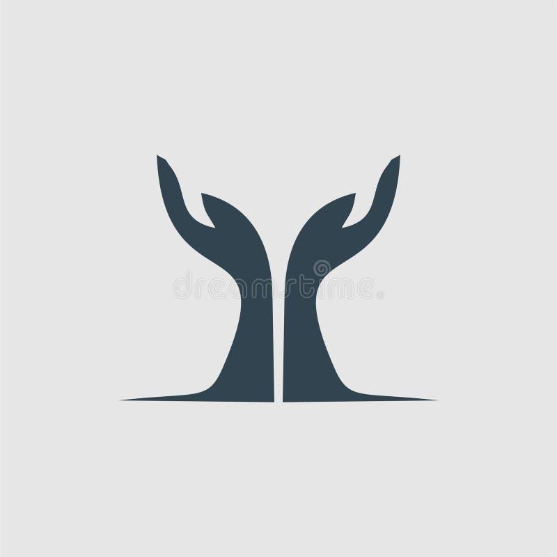 De hand van bidt de inspiratie van het monogramembleem vector illustratie