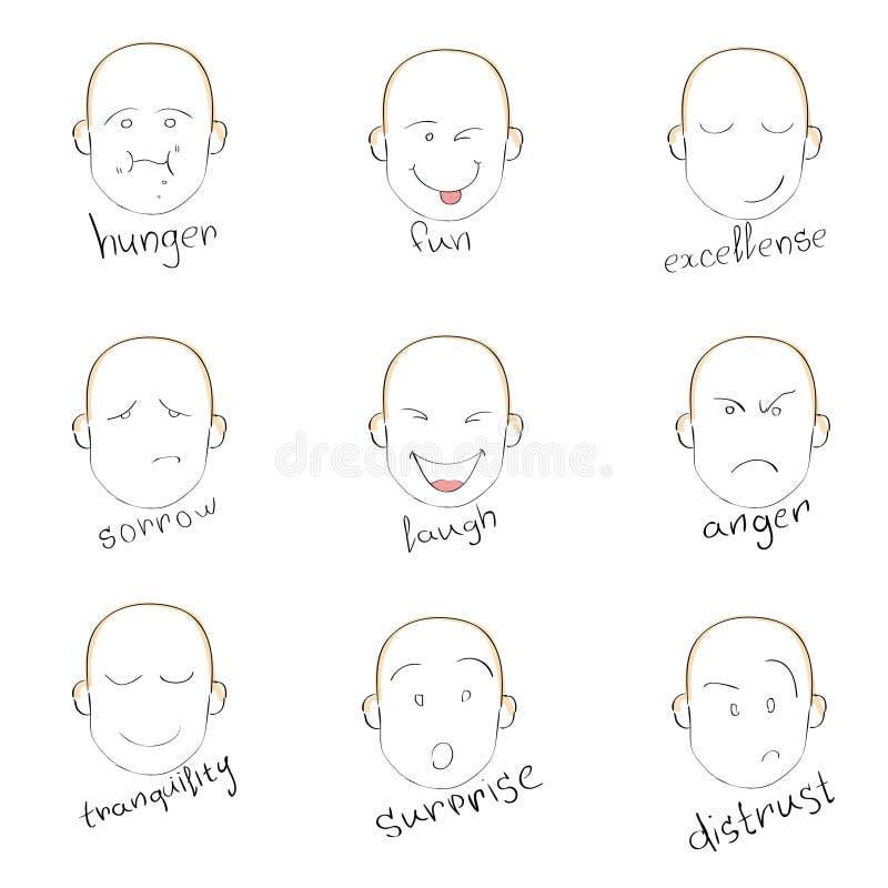 De Hand van de de Emotiesschets van de gezichtsglimlach trekt Hoofdvector vector illustratie
