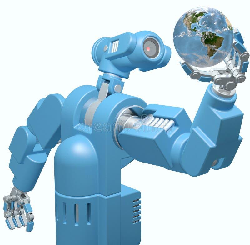 De hand van de de wetenschapstechnologie van de robot houdt de bol van de Aarde royalty-vrije illustratie