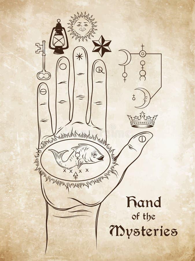 De hand van de Geheimen Het alchemistische symbool van apotheose, de transformatie vector illustratie