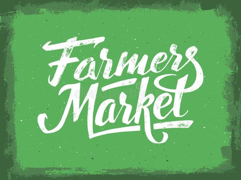 De hand van de landbouwersmarkt het van letters voorzien Uitstekende affiche stock illustratie