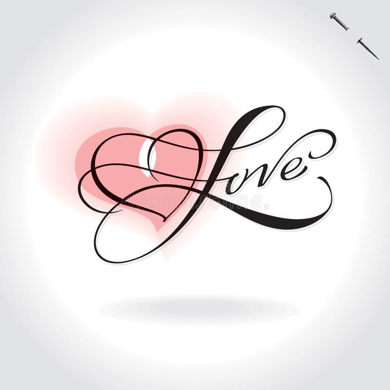 De hand van de liefde het van letters voorzien () stock illustratie