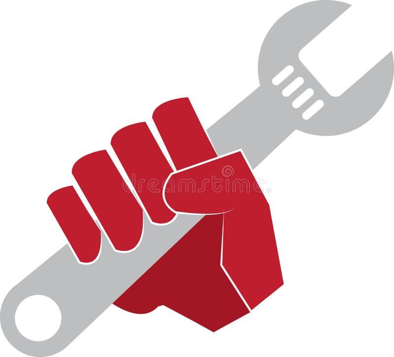 De Hand van de moersleutel stock illustratie