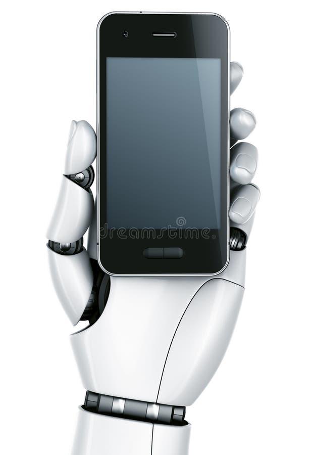 De hand van de robot met Smartphone vector illustratie