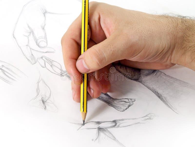 De Hand van de tekening stock fotografie