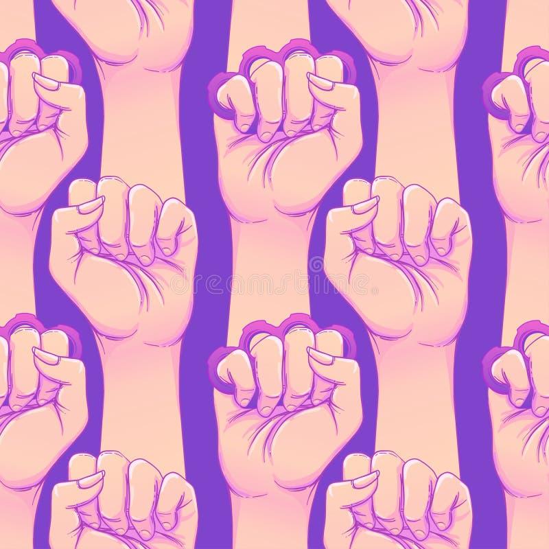 De hand van de vrouw met messingsgewrichten Omhoog opgeheven vuist Meisjesmacht Fe stock illustratie