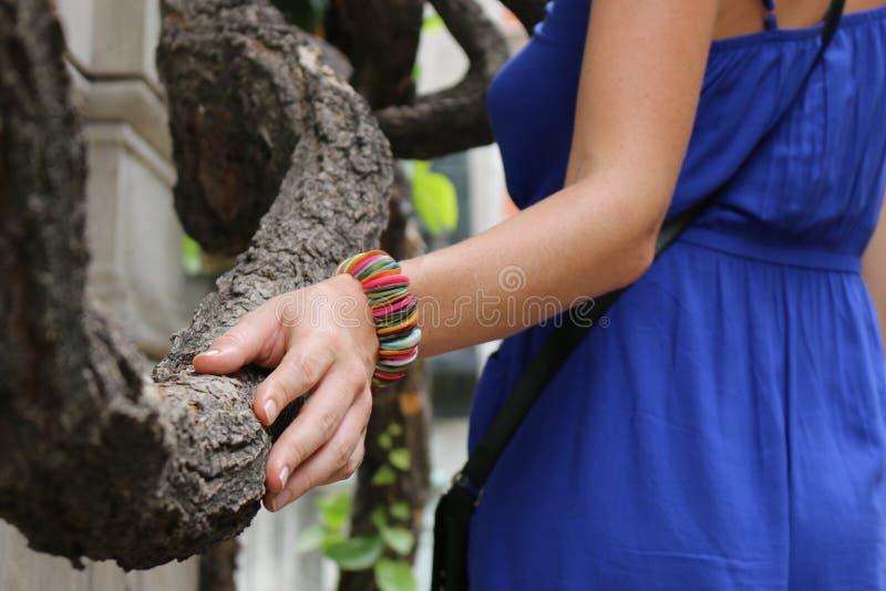 De hand van de vrouw op de boom royalty-vrije stock foto's