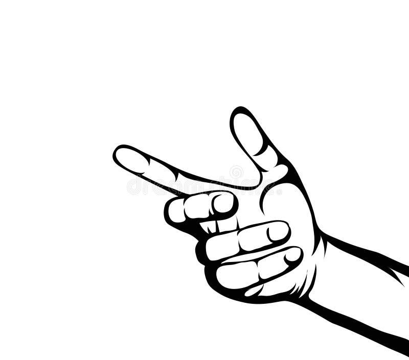 De hand van een vrouw houdt iets onzichtbaar Lege plaats voor uw advertentie royalty-vrije illustratie