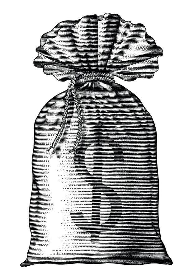 De hand van de geldzak trekt uitstekende geïsoleerde gravure op witte achtergrond vector illustratie