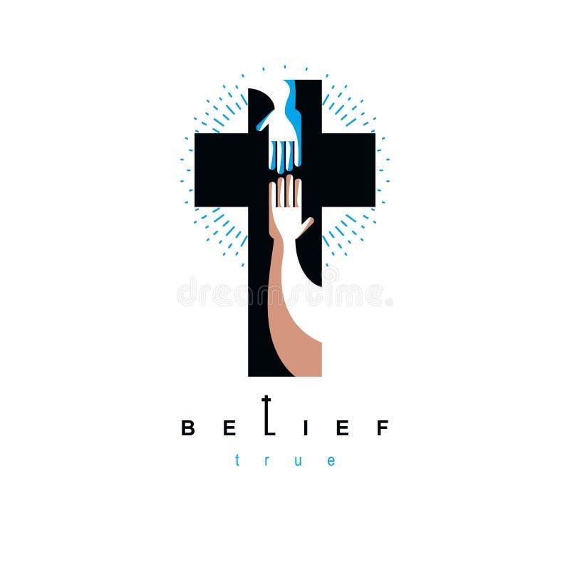 De hand van gelovige breidt zich tot de hand van God, het helpen en liefde uit van vector illustratie