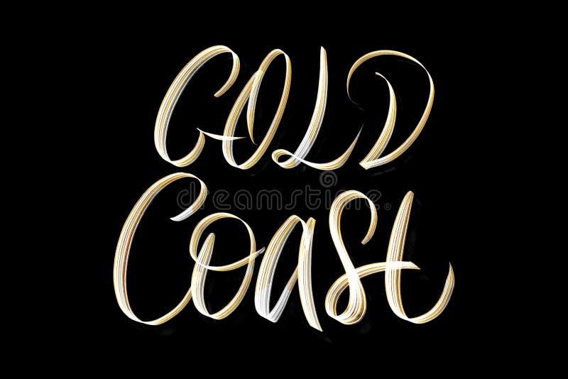 De hand van Gold Coast creatief het van letters voorzien ontwerp stock illustratie